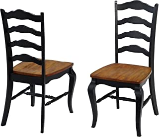 French Countryside Oak/Black Pair of Chairs by Home Styles
