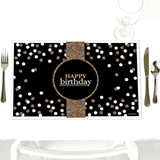 Adult Happy Birthday - Gold - Party Table Decorations - Birthday Party Placemats - Set of 12