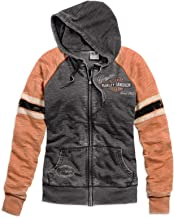 HARLEY-DAVIDSON Official Women's Genuine Oil Can Burnout Hoodie, Grey