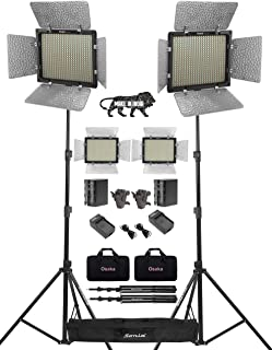 Osaka Bi-Color Dimmable LED Video Light OS 528 Slim for DSLR Video Cameras YouTube Video with 2 Pc Combo kit: 2 Battery 8000 mAh 2 Fast Charger 2 Light Stand 2 Umbrella Adapter 2 LED Bag 1 Stand Bag