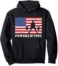 Distressed Powerlifting USA American Flag Vintage Weightlift Pullover Hoodie