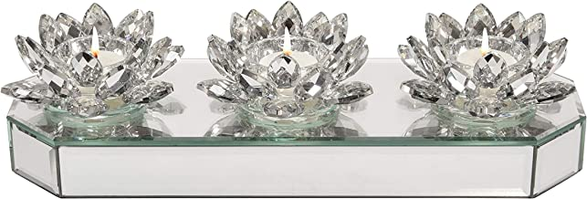 """Sagebrook Home 15379-01 Glass 13"""" 3 Lotus Mirrored Candle Holder, Silver, L x 5"""" W x 3"""" H"""