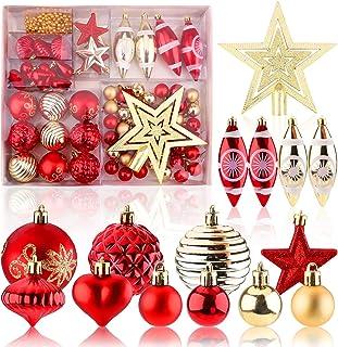Adornos navideños Juego de 74 adornos navideños para decoración de árboles de Navidad Adornos de bolas navideñas inastilla...