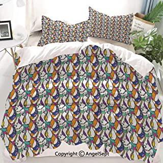 Geometric Decor Duvet Cover Set Full Size,Cat Design with Various Stances Colorful Abstract Pet Pattern Animal Fun Artwork,Decorative 3 Piece Bedding Set with 1 Pillow Shams
