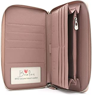 Brelox Travel Family Passport Holder Wallet - Pink - Genuine Leather - RFID Blocking - Zippered Organizer for Travel Documents - Passport Holder for 4 5 6 - ID Slot - Pockets for Cash & Boarding Pass