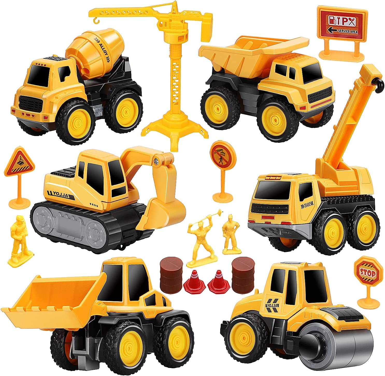 TOY Life Construction Vehicles Truck Sandbox Toy Set for Kids with 27.75x32.28 Inch Play Car Mat& 6 Construction Diecast Pull Back Cars -Construction Truck Tractor Excavator for Boy 2 3+ Year olds: Toys & Games