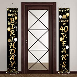 2 Pieces 40th Birthday Party Decorations Cheers to 40 Years Banner 40th Party Decorations Welcome Porch Sign for 40 Years Birthday Supplies (40th Birthday)