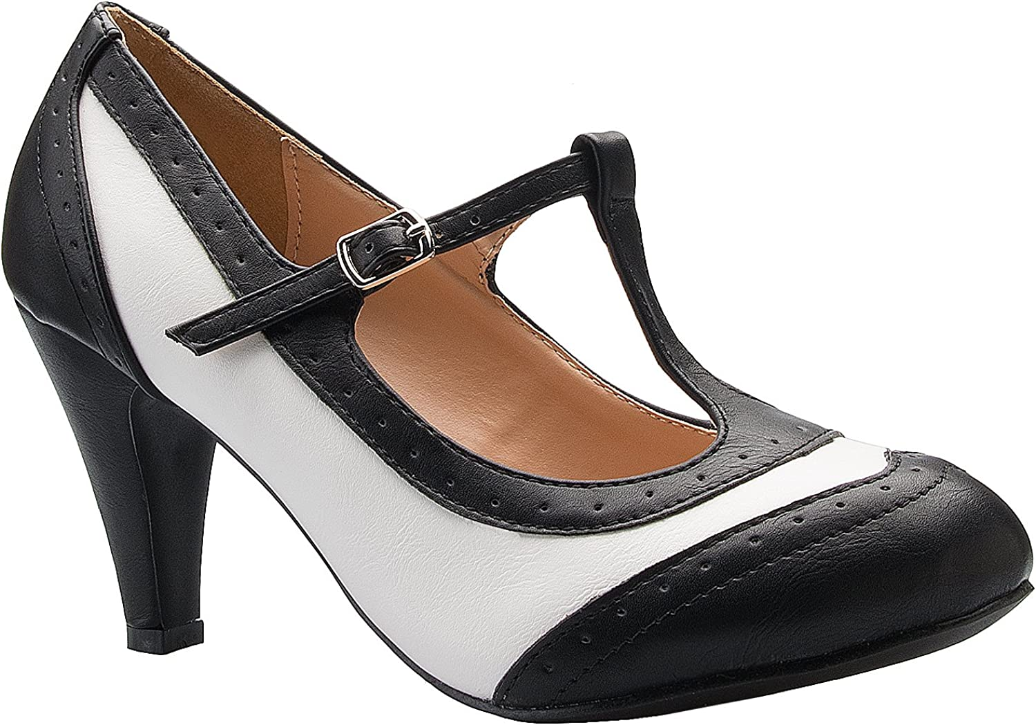 OLIVIA K Womens Mary Jane Pumps - Low Heels - Two color Vintage Retro Round Toe shoes