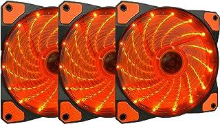 Apevia APEVIA AF312L-SOG 120mm Orange LED Ultra Silent Case Fan w/ 15 LEDs & Anti-Vibration Rubber Pads (3-pk)