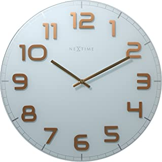 """NeXtime wall clock """"CLASSY LARGE"""", very silent, round, made of glass, white/copper, ø 50 cm"""