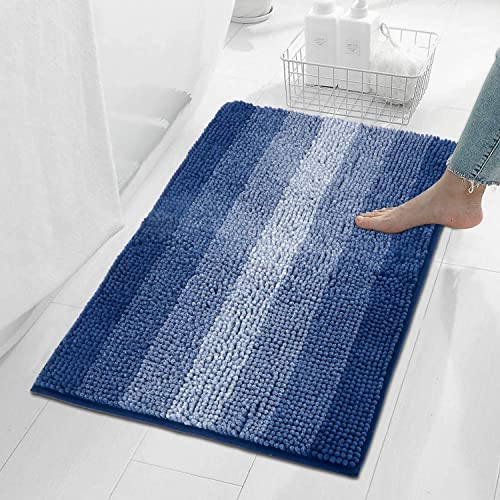 HOKIPO Large 50x80cm Soft Microfiber Bath Mats for Home Blue AR 3480 BLU