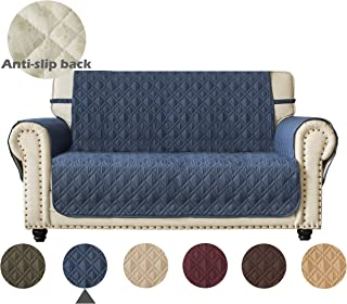 Ameritex Loveseat Cover 100% Waterproof Quilted Furniture Protector with Back Nonslip Paws Slipcover for Dogs, Kids, Pets Loveseat Slipcover Stay in Place for Leather Couch (Pattern1:Navy, Loveseat)