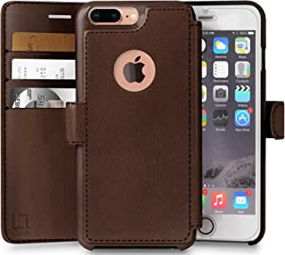 LUPA Wallet case for iPhone 8 Plus, Durable and Slim, Lightweight, Magnetic Closure, Faux Leather, Dark Brown