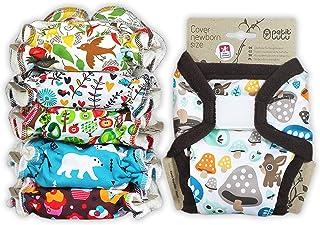 Petit Lulu 5 stuks pasgeborenen broekluiers set + 1 waterdichte maat 1 PUL overbroek (2-6 kg), herbruikbaar en wasbaar, st...