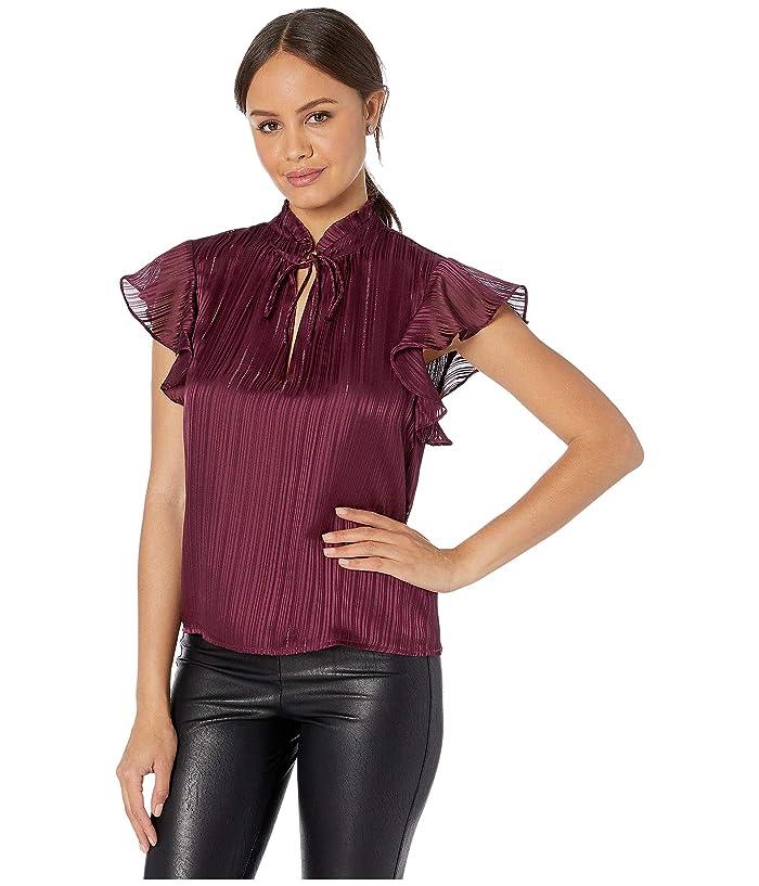 BB Dakota  Shadowplay Lurex Stripe Chiffon Top (Boysenberry) Womens Clothing