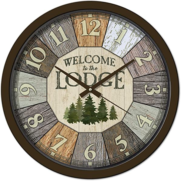Reflective Art Welcome To The Lodge Classic Clock 15