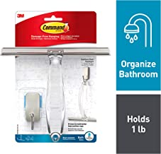 Command 076308728564 Shower, Satin Nickel, 1-Squeegee, 1-Hook, 1 Small Water-Resistant Strip (BATH32-SS-ES)