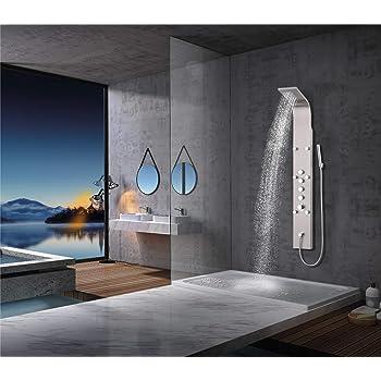 Elbe Duschpaneel Edelstahl mit Thermostat, 6 Massagendüsen, Wasserfalldusche, Regendusche, Handbrause, Duschsystem 165 x 20 x7 cm Großformat, gebürstetes Edelstahl Optik
