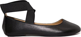 Dana Women's Ballerina Flats with Elastic Crossing Straps