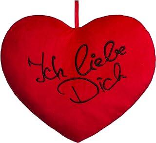 Brandsseller Cojín con forma de corazón XXL Ich Liebe Dich Kuschelkissen Dekokissen Micro Plüschoptik aprox. 60x50x10 cm rojo