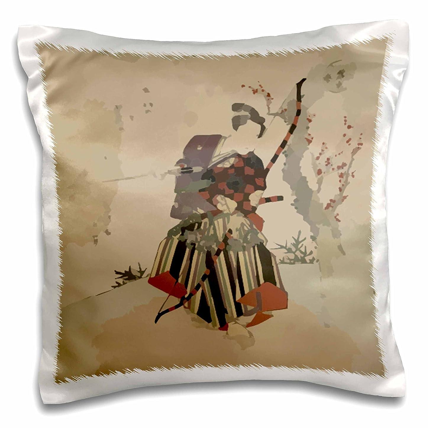 エッセンスあそこやさしい3dローズFlorene Hokusai Japanese Art?–?イメージのHokusai Woodcut Warrior With Bow And Arrow?–?枕ケース 16