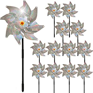 Relyone 12PCS Sparkly Reflective Pinwheels for Yard and Garden Bird Blinder Repellent Devices Outdoor Keep Birds Away Pin Wheels for Kids Party Favor