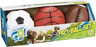 Toysmith Get Outside GO! Pro-Ball Set, Pack of 3 (5-inch soccer ball,6.5-inch football and 5-inch basketball)