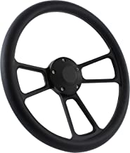 5-bolt Black Steering Wheel 14 Inch Aluminum with Black Vinyl Wrap and Horn