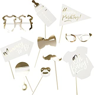 Ginger Ray OB-122 Gold Foiled Baby Shower Photo Booth Props Alternative Game Pack (10Piece)