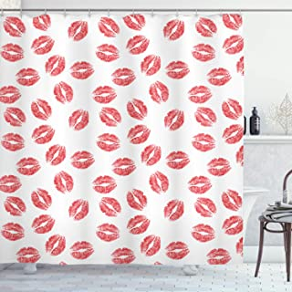Ambesonne Feminine Shower Curtain, Pattern with Red Lipstick Kiss Marks Woman Valentines Wedding Theme Illustration, Cloth Fabric Bathroom Decor Set with Hooks, 70
