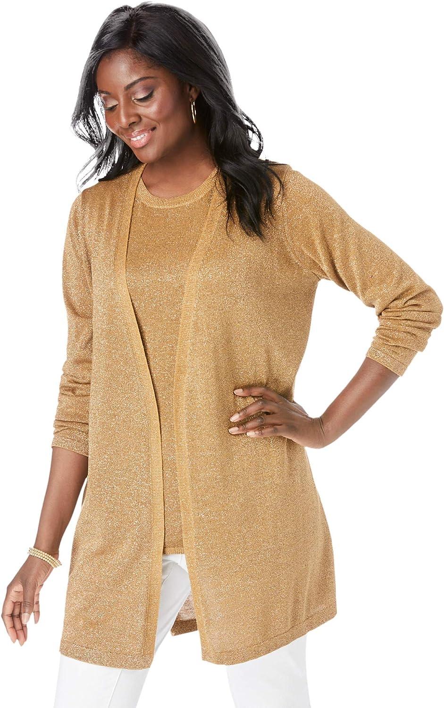Jessica London Women's Plus Size Shimmer Cardigan