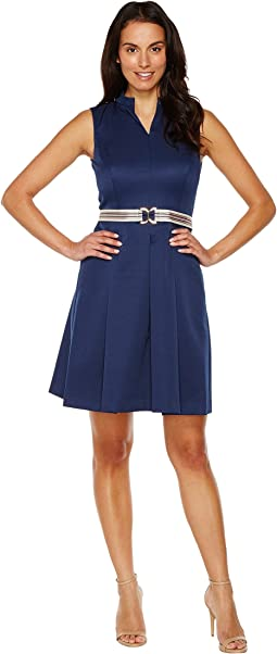 Fit & Flare Pique Dress with Striped Belt