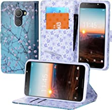 Alcatel A30 Fierce (2017) Case, Alcatel A30 Plus Walters Case, Alcatel REVVL Case, PU Wrist Strap Leather, Wallet Flip Protective Case Cover with Card Slots for Walters (Blooming Teal)