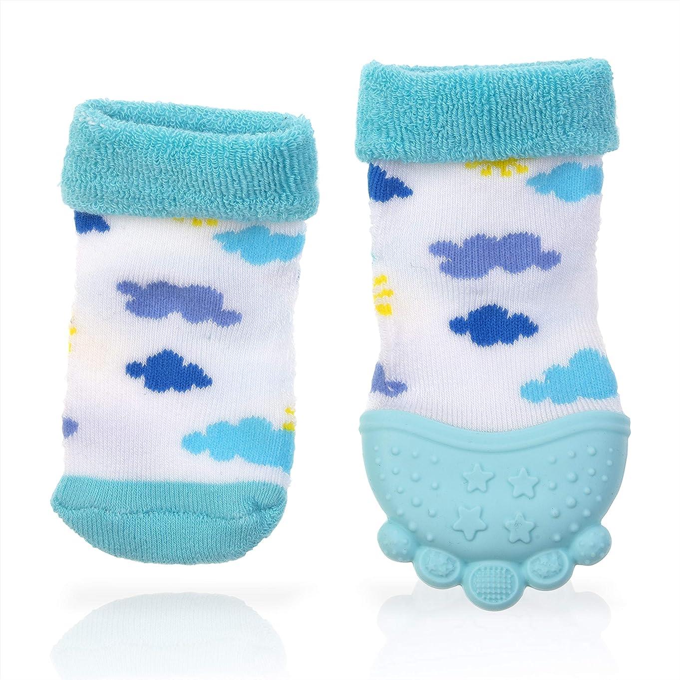 Nuby Soothing Teether Sock, Sky Blue Clouds
