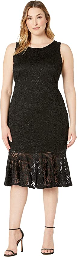Plus Size Sleeveless Stretch Glitter Lace Midi Dress with Flounce