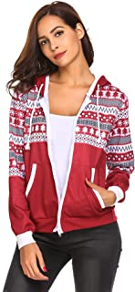 Women's Fashion Long Sleeve Casual Zip Up Jacket Christmas Pocket Hoodie with Snowflake Pattern