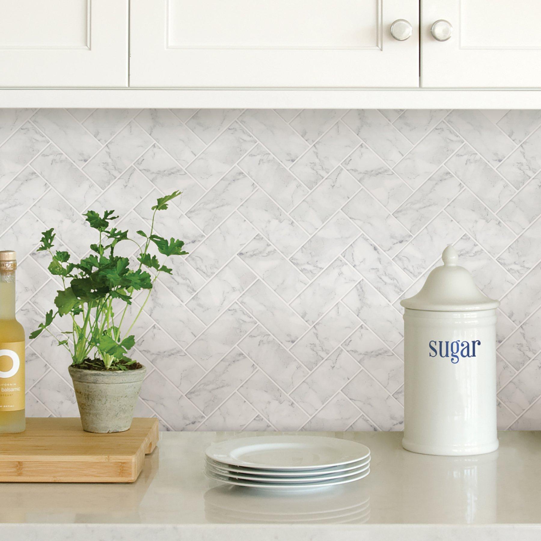 - InHome NH2358 Herringbone Carrara Peel And Stick Backsplash Tiles