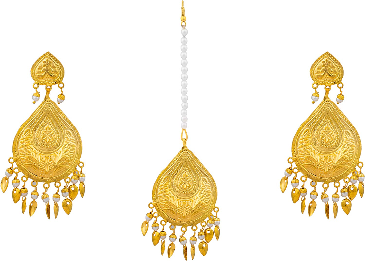Bodha Traditional Indian Gold Plated Fashion Designer Earring and Maang Tikka Combo Set for Women (SJ_1514)