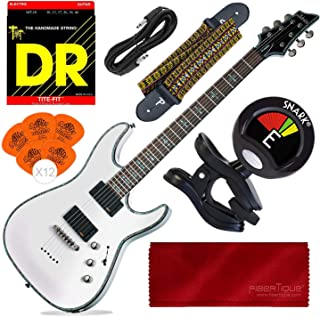 Schecter Hellraiser C-1 Electric Guitar (Gloss White) with Guitar Strap, Tuner and Accessory Bundle