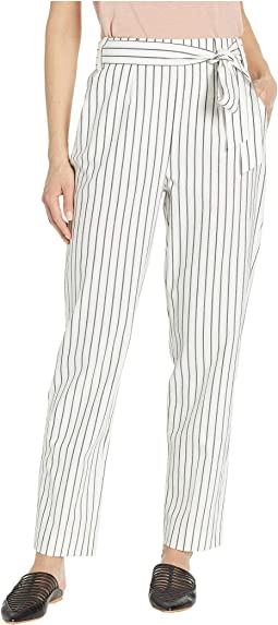 Striped Tie Waist Tapered Leg Pants