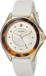 Michele Womens The Cape Gold-Plated Stainless Steel White Silicone Strap