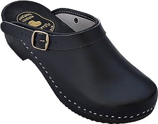 BeComfy Zuecos Zapatillas de Hombres de Cuero, Negro, Suela de Madera, tamaños 40-46, Model VK53