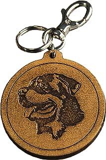 Portachiavi Cane Rottweiler inciso in Vera Pelle Conciata al Vegetale tamponato a mano - Etabeta Artigiano Toscano - Made ...