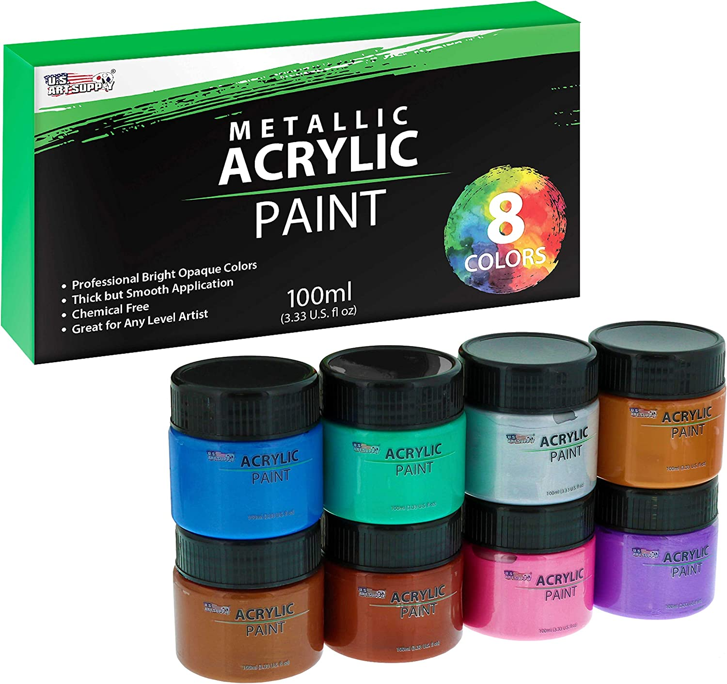 U.S. Art Selling and selling Supply 8 Color Metallic Jar Set 100ml Bot Paint NEW before selling Acrylic