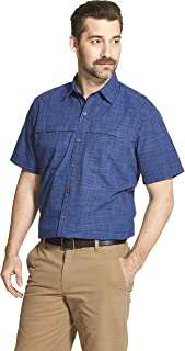 Men's Big and Tall Crosshatch Short Sleeve Button Down Solid Shirt