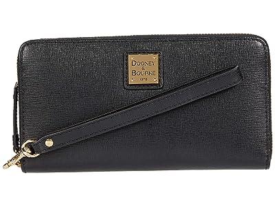 Dooney & Bourke Large Zip Around Wristlet (Black) Clutch Handbags