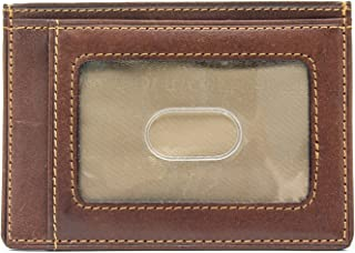 Tony Perotti Italian Leather Slim Front Pocket Wallet With Id Window