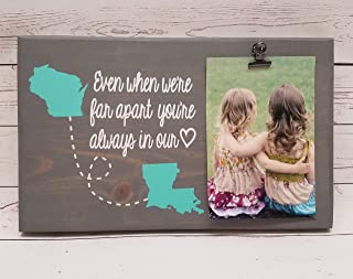 Even when we're far apart you're always in our heart, wood picture frame, photo holder with clip, 7x12 Long Distance Friends or Relationship Photo board with States