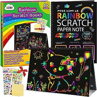 ZMLM Scratch Paper Art Notebooks - Rainbow Scratch Off Art Set for Kids Activity Color Book Pad Black Magic Art Craft Supp...