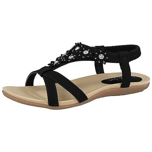 8f0fe5699aaa Jo   Joe Ladies Faux Leather Peep Toe Sling Back T-Bar Flower Fashion Flat